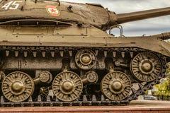 Ideia do fragmento com o chassi da lagarta do tanque pesado soviético IS-3 durante a segunda guerra mundial Fotografia de Stock
