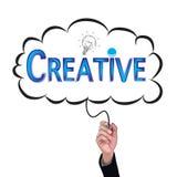 A ideia do lápis do isolado da mão escreve o negócio e o educa criativos azuis ilustração do vetor