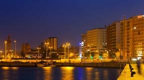 Ideia do lado de porto em Algeciras na noite imagens de stock