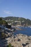 Ideia do litoral no verão em Llafranc Foto de Stock Royalty Free