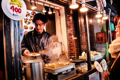 Ideia do mercado de peixes de Tsukiji com lojas varejos e restaurantes carter no Tóquio Fotos de Stock Royalty Free