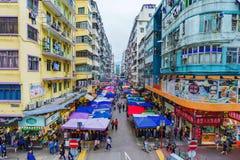 Ideia do mercado de rua de Yuen do fá em Mongkok fotos de stock royalty free