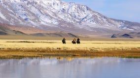 Ideia do Mongolian Eagle Hunter com seu Eagle em seu braço que monta horseback filme