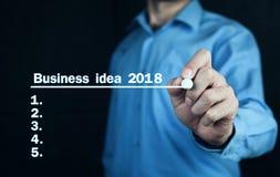 Ideia 2018 do negócio da escrita do homem na tela Fotos de Stock