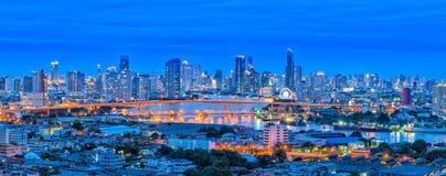 Ideia do panorama da paisagem da arquitetura da cidade de Banguecoque Fotografia de Stock