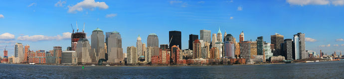 A ideia do panorama da skyline do Lower Manhattan Imagens de Stock Royalty Free