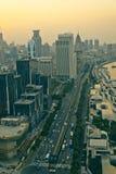 Ideia do panorama do scape da cidade de Shanghai no tempo do por do sol Fotografia de Stock