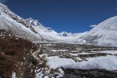 Ideia do pico da ilha na vila de Dingboche Fotografia de Stock Royalty Free