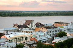 Ideia do por do sol da parte a mais velha de Nizhny Novgorod Fotografia de Stock Royalty Free