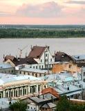 Ideia do por do sol da parte a mais velha de Nizhny Novgorod Foto de Stock Royalty Free