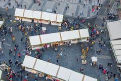 Ideia do quadrado de cidade com pavilhões da compra Fotos de Stock