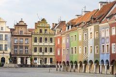 Ideia do quadrado principal Rynek da cidade polonesa Poznan fotos de stock