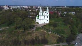 Ideia do vídeo aéreo antigo do St Sophia Cathedral Polotsk, Bielorr?ssia filme