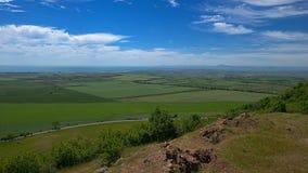 Ideia dos campos semeados no fundo da costa do Mar Negro imagens de stock royalty free