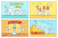 Ideia e trabalhos de equipa do negócio na ilustração Startup Foto de Stock