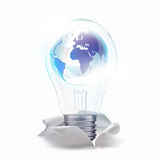 Ideia fresca no mundo dentro da lâmpada Fotos de Stock