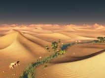 Ideia global da mudança de temperatura os cumes solitários da areia sob o céu dramático do por do sol da noite na seca abandonam  ilustração stock