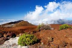 Ideia impressionante da paisagem da área vista da cimeira, Maui do vulcão de Haleakala, Havaí Imagem de Stock
