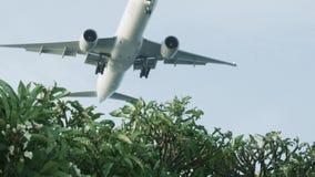 A ideia inferior do plano decola acima do parque do voo da cidade entre o céu azul claro tiro Plano a baixa altitude sobre o parq filme