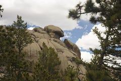 Ideia lateral da formação de rocha de Vedauwoo Foto de Stock