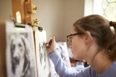 Ideia lateral da imagem adolescente fêmea do desenho de Sitting At Easel do artista do cão da fotografia no carvão vegetal foto de stock