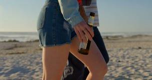 Ideia lateral dos pares que andam com a garrafa de cerveja na praia em um dia ensolarado 4k filme