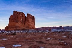 Ideia magnífica do ` o ` do órgão durante o inverno no parque nacional dos arcos em Moab, Utá foto de stock