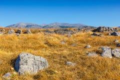 Ideia majestosa da paisagem do cretan no por do sol Imagem de Stock