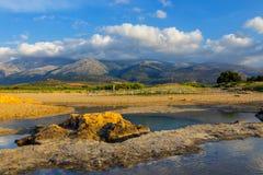 Ideia majestosa da paisagem do cretan no por do sol Fotografia de Stock Royalty Free