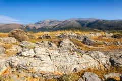 Ideia majestosa da paisagem do cretan no por do sol Imagens de Stock