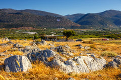 Ideia majestosa da paisagem do cretan no por do sol Imagem de Stock Royalty Free