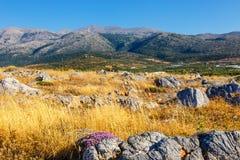Ideia majestosa da paisagem do cretan no por do sol Foto de Stock Royalty Free