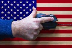 Ideia manipulada foto para ataques do cyber no Estados Unidos da América ilustração do vetor