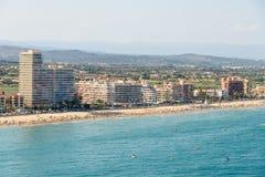 Ideia panorâmico aérea da skyline da estância de verão da cidade de Peniscola no mar Mediterrâneo na Espanha Fotografia de Stock