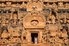 Ideia próxima das esculturas de Vimana, templo de Brihadishvara, Thanjavur, Tamil Nadu imagem de stock royalty free