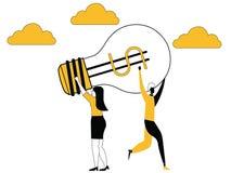Ideia que arrebata entre mulheres de negócio ilustração do vetor