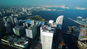 Ideia a?rea da arquitetura da cidade de Yokohama no distrito da margem de Minato Mirai, Jap?o filme