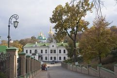 Ideia superior da parte mais inferior de Kiev Pechersk Lavra no outono Fotos de Stock