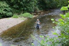 Ideia superior da pesca do mosca-pescador Imagem de Stock Royalty Free