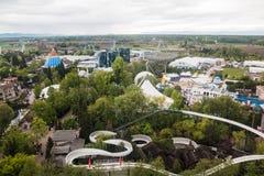 Ideia superior das atrações no parque de Europa em Alemanha em 2017 Foto de Stock