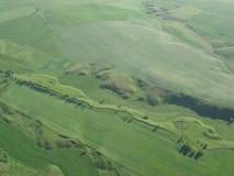 Ideia superior de campos verdes fotografia de stock