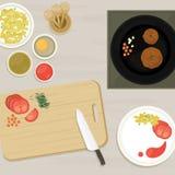 Ideia superior de cozinhar a tabela Fotos de Stock Royalty Free