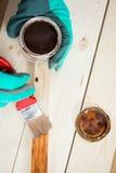 Ideia superior de pintar a placa de madeira Foto de Stock Royalty Free