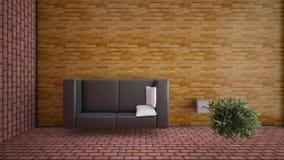 Ideia superior de uma rendição interior de uma sala de visitas Imagem de Stock Royalty Free