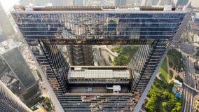 Ideia superior do centro financeiro de mundo de Shanghai fotografia de stock