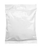 A ideia superior do empacotamento de alimento vazio do malote plástico isolou-se no branco fotos de stock royalty free