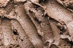 Ideia superior do fundo do chocolate de leite Close up da musse de chocolate foto de stock