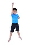 Ideia superior do olhar asiático feliz da criança como o super-herói do voo, isolat Fotografia de Stock Royalty Free