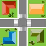 Ideia superior do quarto da cidade com ruas, casas, árvores Imagens de Stock Royalty Free