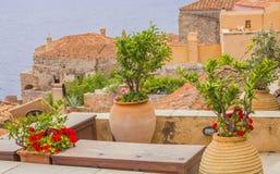 Ideia tradicional das casas de pedra e das vistas Foto de Stock